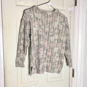 Hattie Carnegie Sweater floral silk blended M